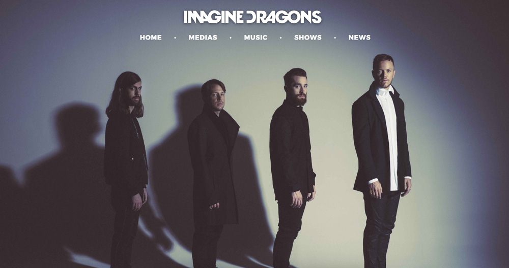Page d'accueil du site de l'artiste, Imagine Dragon