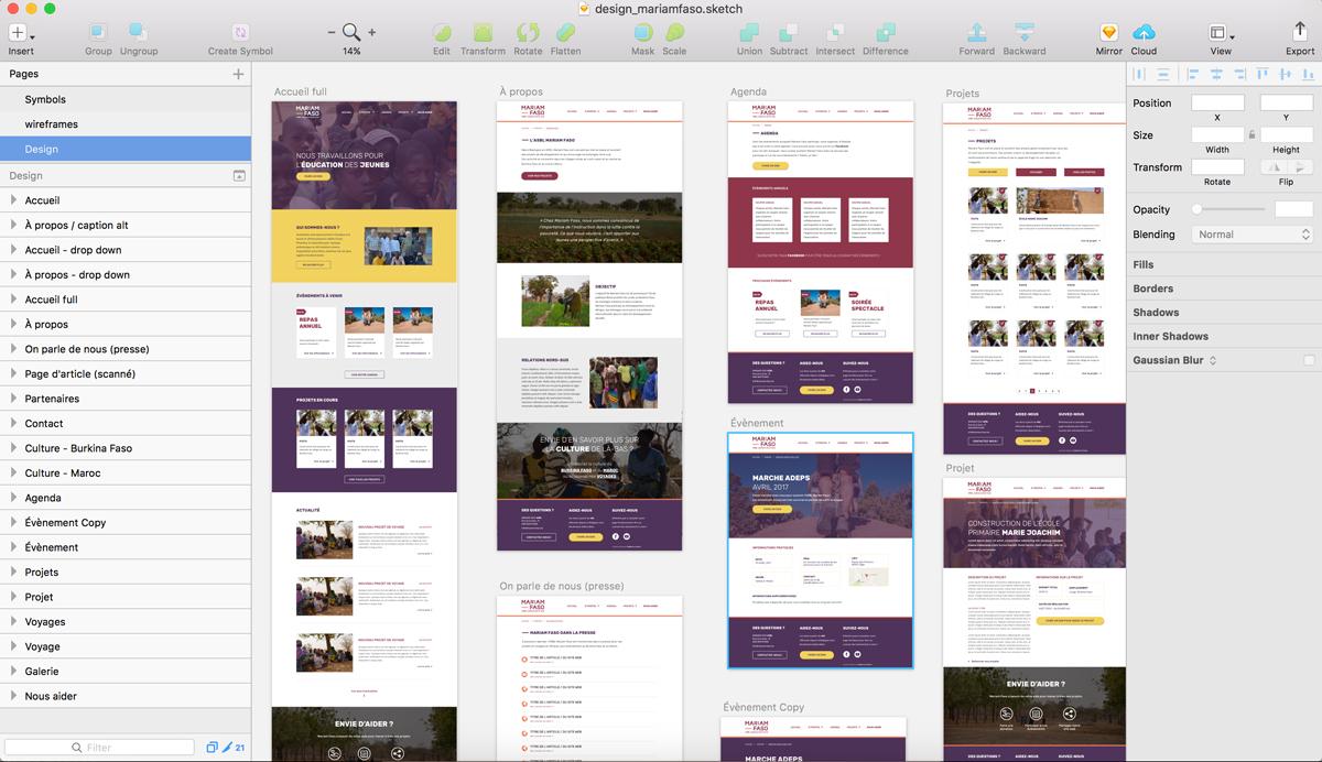 Planches de design du site web Mariam Faso