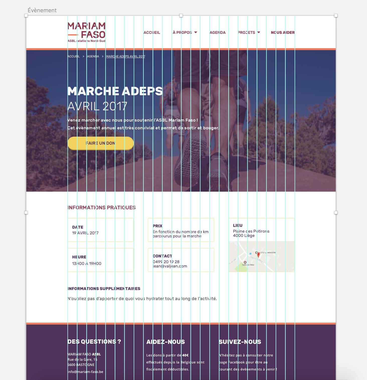Grille sur une planche du design du site de Mariam Faso