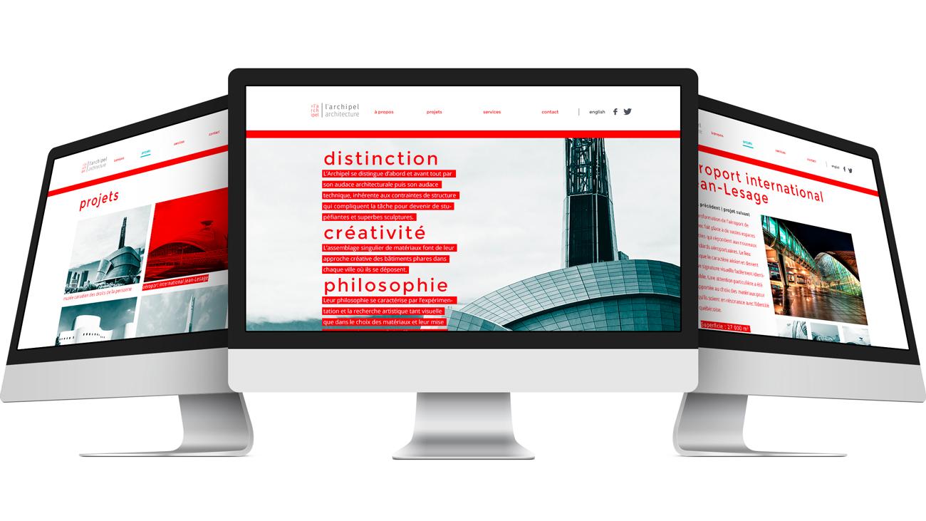 Écrans du site web pour l'archipel architecture