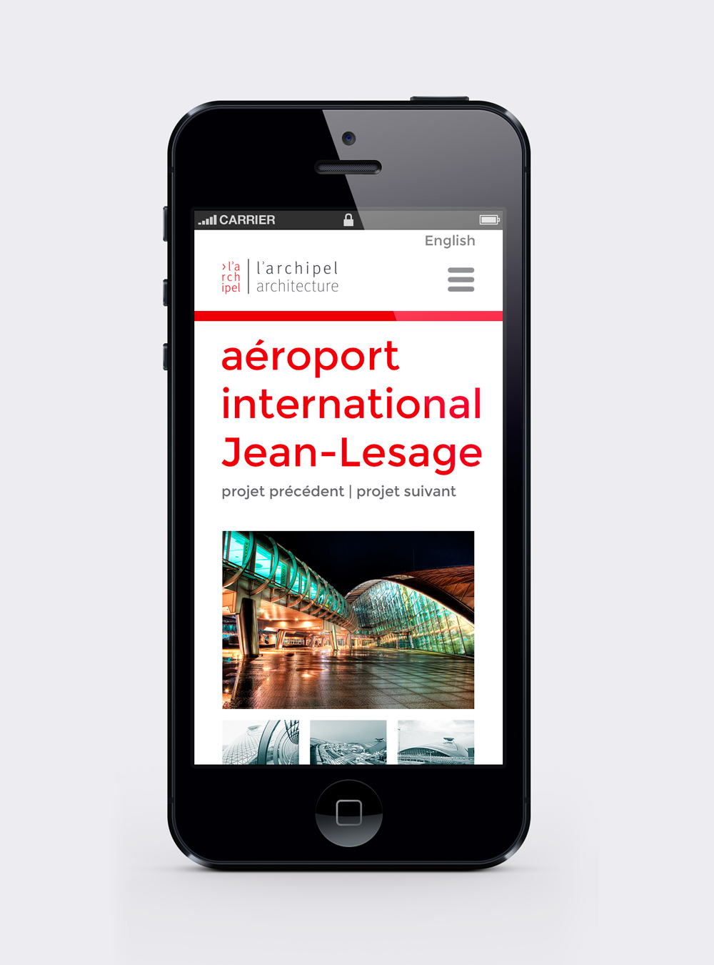 Version mobile d'une page du design web